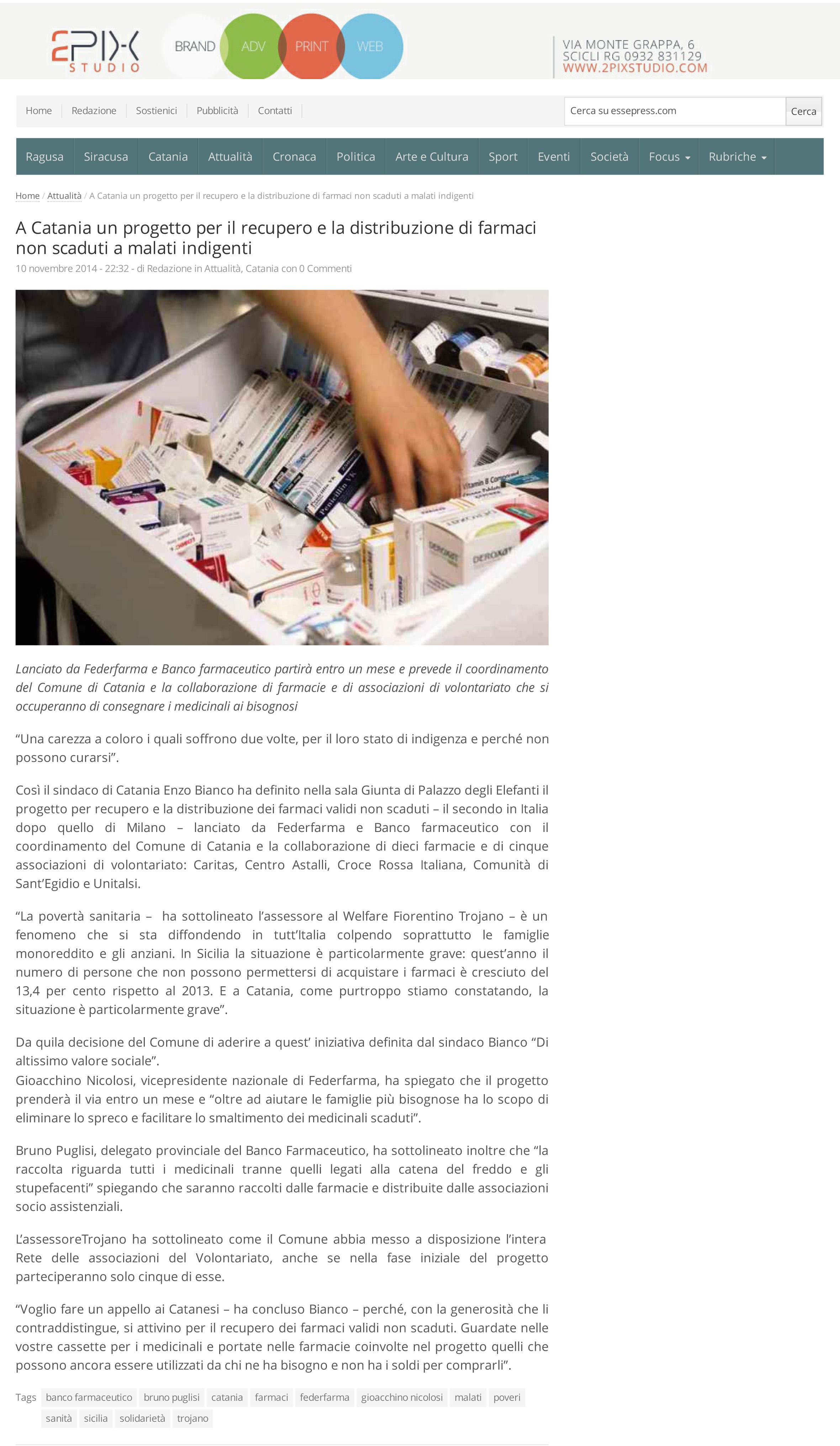 A Catania un pro to per recupero e distribuzione farmaci non scaduti a malati indigenti