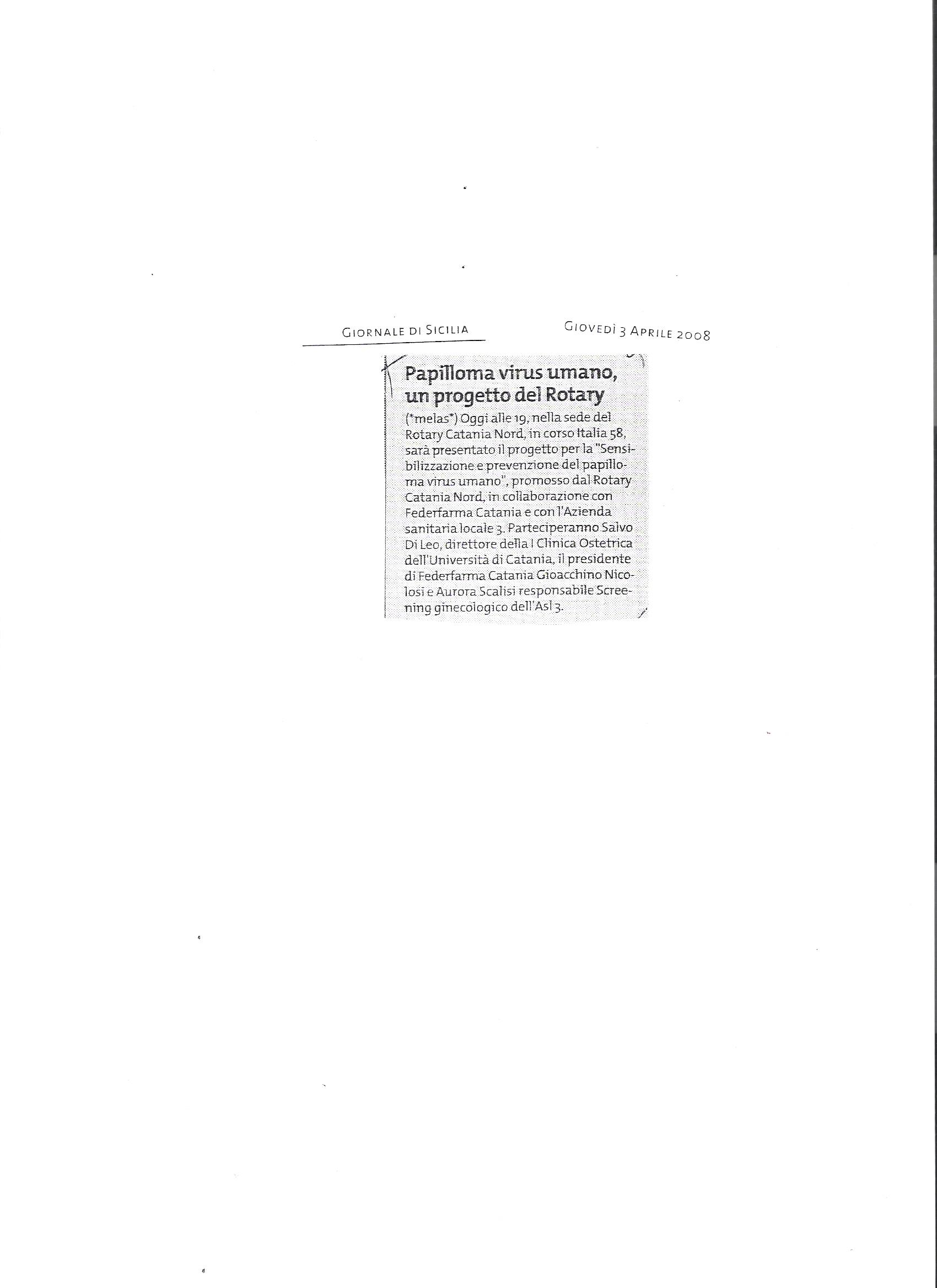 Papilloma virus umano un pro to di Rotary e Federfarma
